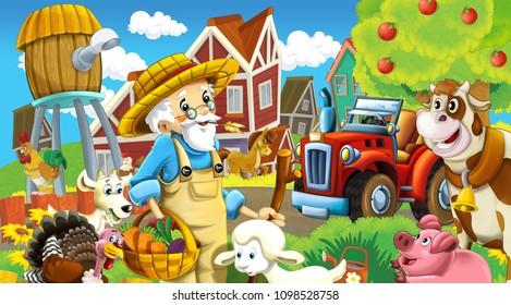 cartoon scene with happy farmer and his animals having fun on the farm - illustration for children