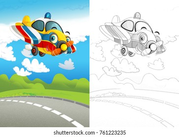 cartoon scene with happy and funny flying ambulance plane with coloring page - illustration for children