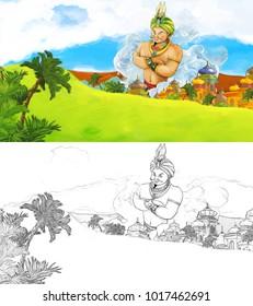 Cartoon Scene Happy Giant Magician Flying Stock Illustration