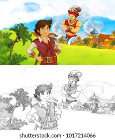 cartoon scene happy king od 260nw