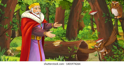 cartoon scene with happy king or prince in the forest encountering pair of owls flying - illustration for children
