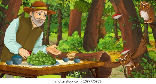 cartoon scene with happy older man farmer in the forest encountering pair of owls flying - illustration for children