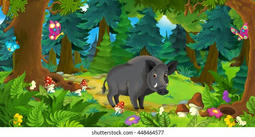 Cartoon scene with happy wild boar standing in the forest - illustration for children