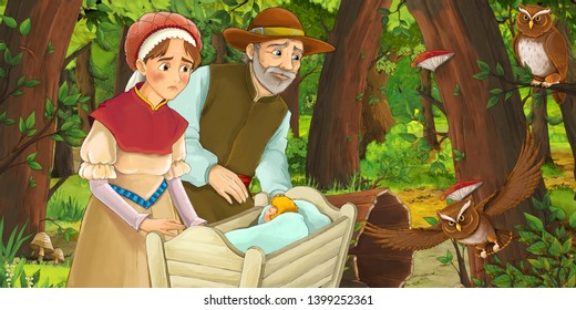cartoon scene with happy woman and man with child in a crib in the forest encountering pair of owls - illustration for children