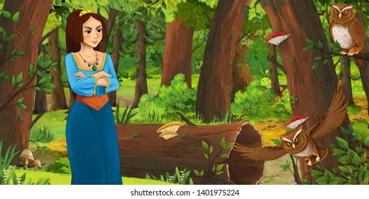 cartoon scene with happy young girl in the forest encountering pair of owls flying - illustration for children