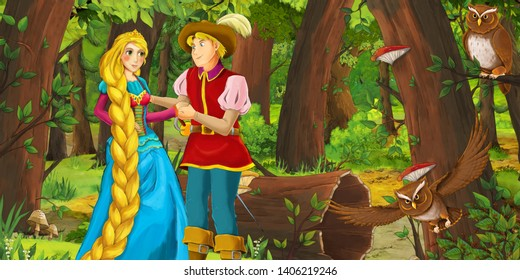 cartoon scene with happy young girl and boy prince and princess in the forest encountering pair of owls flying - illustration for children