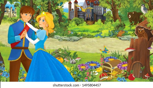 cartoon scene with happy young girl and boy prince and princess in the forest near some castles - illustration for children