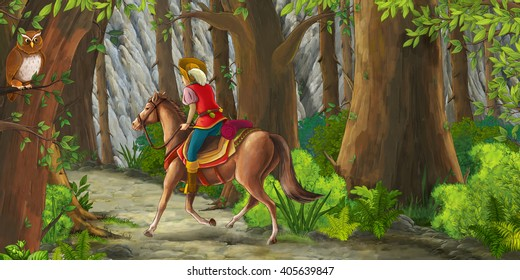 Cartoon scene with a horseman riding through the forest to unknown - illustration for children