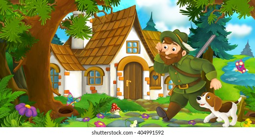 Cartoon scene with a hunter walking towards beautiful old house with his dog - illustration for children