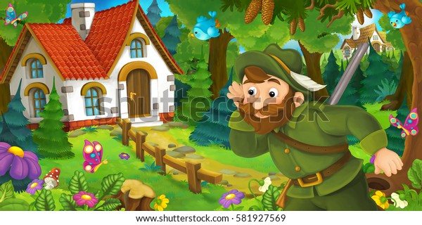 cartoon scene with a hunter walking towards beautiful old house illustration for children