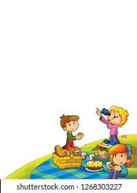 cartoon scene with kids in the park on the grass having picnic - on white background - template with space for text - illustration for children