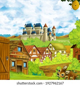 cartoon scene with kingdom castle and mountains valley forest and farm village settlement illustration for children