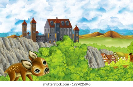 cartoon scene with kingdom castle mountains valley near forest and farm village illustration for children