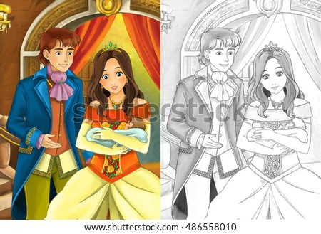 Cartoon Scene With Married Couple Taking Care Of A Baby