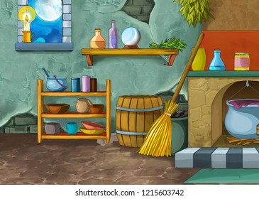 cartoon scene with medieval castle room like kitchen - interior for different usage - illustration for children