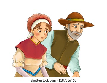 cartoon scene with medieval farmer and his wife on white background - illustration for children