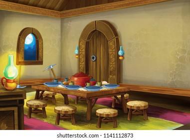 cartoon scene with medieval kitchen room - interior for different usage - illustration for children