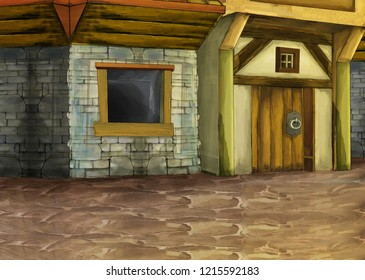 cartoon scene with medieval street with some building like tavern - illustration for children