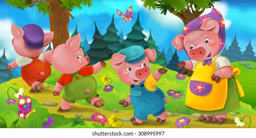 Cartoon scene with mother pig and kids - illustration for the children
