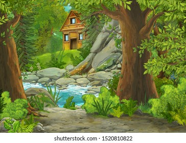 cartoon scene with mountains and valley with farm house and garden near the forest and stream illustration for children
