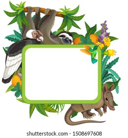 cartoon scene with nature frame and animals vulture sloth armadillo - illustration for children