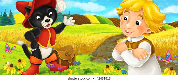 Cartoon scene of a noble cat traveler talking to a man on the field - illustration for children