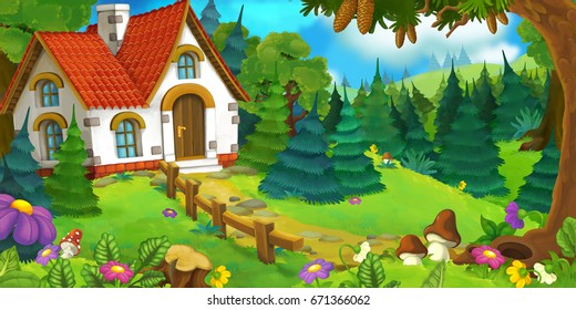 cartoon scene of an old house in the forest and big castle in the background