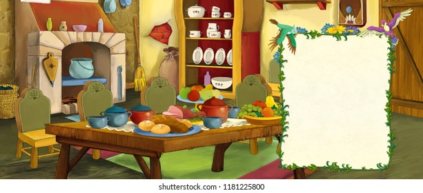 cartoon scene with old traditional kitchen - with frame and space for text - illustration for children