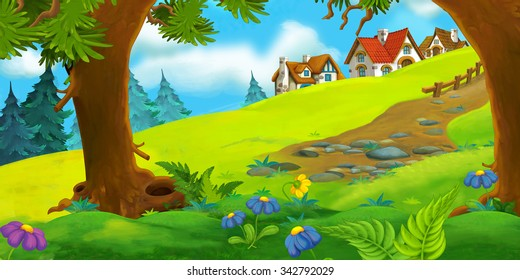 Cartoon scene of old village - farm - illustration for children