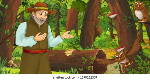 cartoon scene with older man farmer in the forest encountering pair of owls flying - illustration for children
