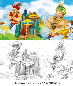 cartoon scene with one magician traveling near arabian castle seeing another one giant magician - jinns - illustration for children