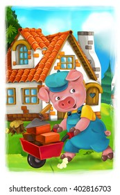 Cartoon scene with pig working on building his house - illustration for the children