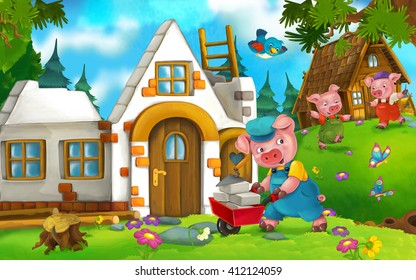 Cartoon scene of a pig working while his pig brothers are playing at the field - illustration for children