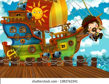 cartoon scene with pirate sailing ship docking in a harbor - illustration for children