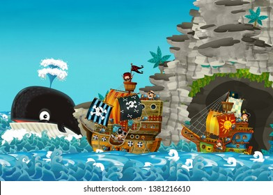 cartoon scene with pirate ship sailing through the seas sailing out of secret cave - illustration for children