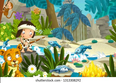 Cartoon scene with prehistoric fishermen near the river fishing and with sabre tooth tiger - illustration for children
