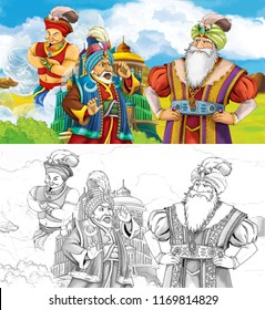 cartoon scene with prince or king traveling near arabian castle looking at giant jinn flying - illustration for children