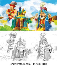 cartoon scene with prince or king traveling near arabian castle seeing flying giant magician - jinn - illustration for children