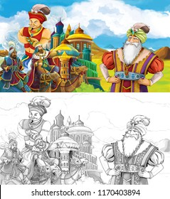 cartoon scene with prince or king traveling near arabian castle seeing jinn and camel travelers - illustration for children
