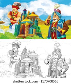 cartoon scene with prince or king traveling near arabian castle seeing flying jinn - illustration for children