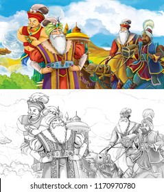 cartoon scene with prince or king traveling near arabian castle meeting camel riders and jinn - illustration for children