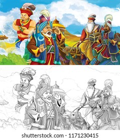 cartoon scene with prince or king traveling near arabian castle encountering camel riders and flying jinn - illustration for children