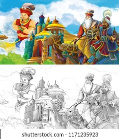 cartoon scene with prince or king traveling near arabian castle meeting some travelers on camels and flying jinn - illustration for children