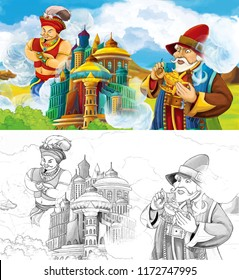 cartoon scene with prince or king with traveling near arabian castle looking at giant jinn flying behind the castle - illustration for children