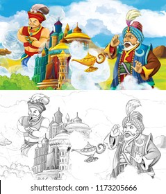 cartoon scene with prince or king with traveling near arabian castle looking at magic lamp and giant jinn flying behind the castle - with artistic coloring page - illustration for children