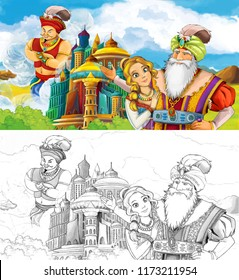cartoon scene with prince or king with traveling near arabian castle looking at giant jinn flying behind the castle - with artistic coloring page - illustration for children