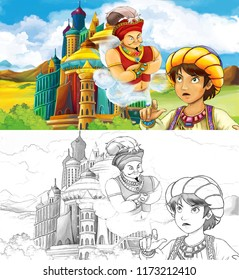 cartoon scene with prince or king with traveling near arabian castle looking at magic lamp and giant jinn flying behind the castle - with coloring page - illustration for children