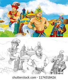 cartoon scene with prince or king with traveling near arabian castle looking at two giant jinns flying around the castle with artistic coloring page - illustration for children