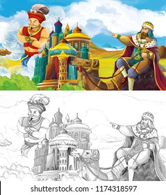 cartoon scene with prince or king traveling on a camel near arabian castle looking at giant jinn flying behind the castle - with artistic coloring page - illustration for children