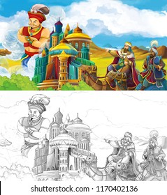 cartoon scene with princes or kings traveling near arabian castle seeing giant jinn flying over the city - illustration for children